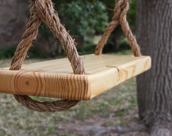 Wooden Natural #1 Pine Tree Swing, Double Rope