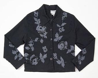90s Surya black stretch denim floral beaded jacket - Size XS Small