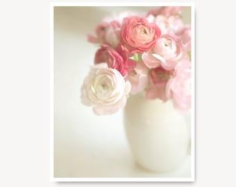 Pink and White Flower Photography, Ranunculus Flower Photo, flower print, modern farmhouse decor, still life nursery decor, nursery wall art