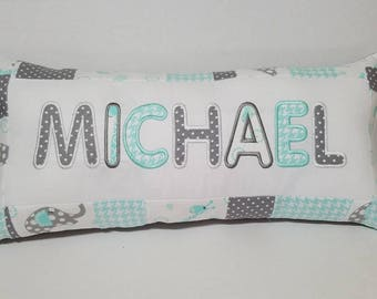 Baby Pillow, Nursery Quilted Pillow,Personalized Pillow, Personalized Baby Shower Gift, Nursery Decor, Baby Name Pillow, Embroidered Pillow