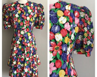 70s 80s Bright Colored Tulip Print Dress with Tiered Ruffle Skirt