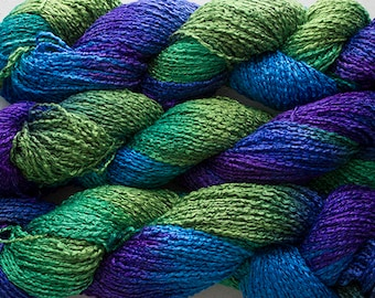 Finch, Hand-dyed Rayon Boucle Yarn, 225 yds - Blue Peacock