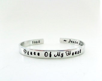 Music Inspiration Gift - Piece Of My Heart - Hand Stamped Cuff - Inspired by Janis Joplin - Customizable