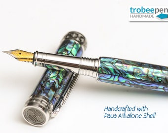 Abalone Pen Hand Made - Fountain Pen with Colorful Paua Abalone Shell Cast in Acrylic Platinum / Black Titanium Trimmed Nice Gift