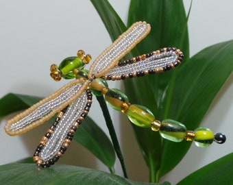 French Beaded Green Dragonfly Plant Stick