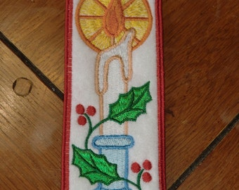 Embroidered Bookmark - Christmas Candle