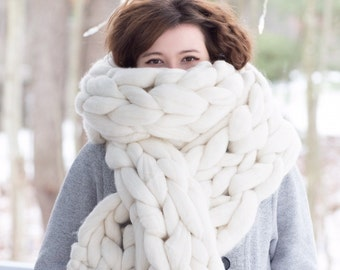 Super Chunky Scarf, Giant Knit scarf, wool scarf,Arm Knit,Handmade
