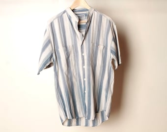 faded striped 90s color block blue NIRVANA 90s DENIM mens vintage shirt