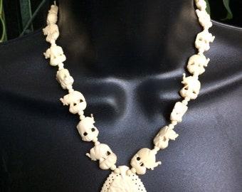 Carved Bone Elephant necklace