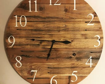 "Rustic Pallet Clock  - 35"" - Sample - Similar clock made on order"