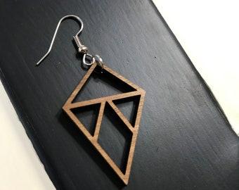 Triangle Laser-Cut Walnut Earrings