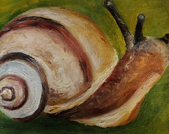 Art work, snail, oil painting, miniature, animal, insect, original, post card, fine art, gift, present.  Миниатюра маслом улитка насекомое