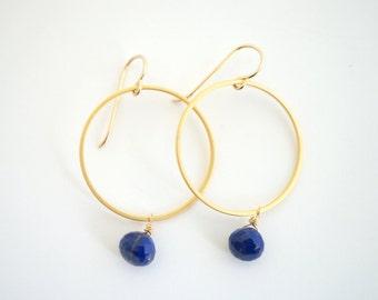 Blue Lapis Hoop Earrings, Lapis Dangle Earrings, Gold Hoop Earrings, Sapphire Blue Earrings, Bridesmaids Jewelry, Gift for Her