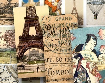 Domino Sized Images, French, Japanese and American Ephemera 1x2 inch Domino Sampler -- piddix digital collage sheet 57
