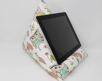 Technology Beanbag Stand, iPad Pillow, Owl Fabric, Gift for Her, Technology Cushion, iPad Rest, Teen Girl Gift, Owl Gift, Tablet Stand