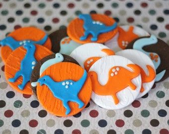 Our EXCLUSIVE Design Whimsical Dinosaur Fondant Toppers - Perfect for Cupcakes, Cookies and Other Edibles