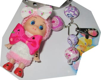 Fashion doll girly bow recycled key upcycled polymer beads