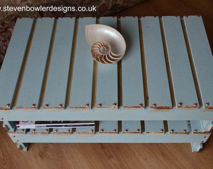 Bespoke Rustic Country Cottage Duck Egg Blue Coffee Table with Copper Tacks & Handy Under Shelf Storage Handcrafted to Order