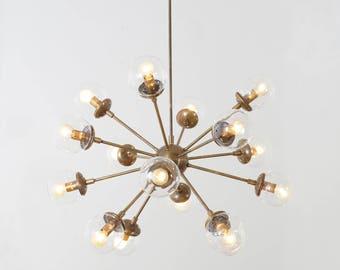 Modern Brass 16 Globe Sputnik Chandelier Light Fixture - Sputnik Starburst Chandelier
