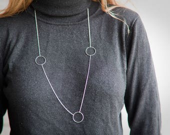Long Circles Necklace - Sterling silver - Long Silver Necklace -  Layering Necklace -