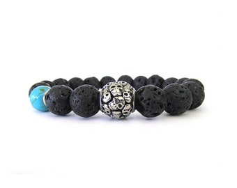 Black Lava Rock Men's Skull Bracelet - Skull Bracelet - Skull Jewelry - Black Bracelet - Bracelets for Men - Men's Jewelry - M09102