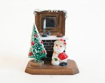 Vintage Christmas Diorama, Santa by the Chimney Bottle Brush Tree Miniature Figurine, Enesco
