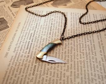 Pocket Knife Necklace » Mini Pocket Knife Necklace » Black Mother of Pearl Knife » Knife Pendant » Pen Knife » Tomboy Style