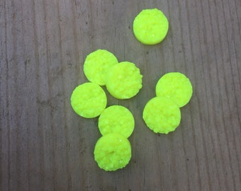 Bright yellow 12mm faux druzy earring cabochons - 8 pieces
