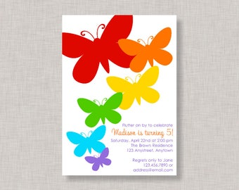 Butterfly Invitation, Butterfly Birthday Invitation, Butterfly Party, Rainbow Party