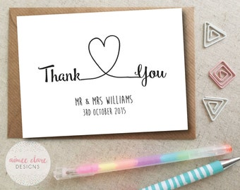 Personalised Thank You Wedding Cards - Pack of 10