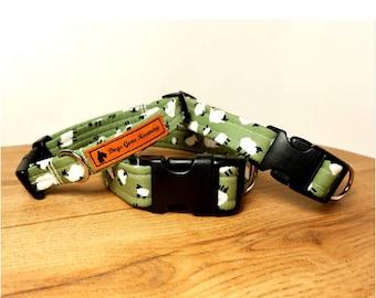 Dog collar, sheep dog collar, collar,  green dog, metal buckle collar, plastic collar, adjustable dog collar, spring dog collar, lamb collar