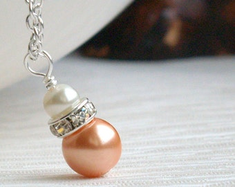 Orange Necklace,Bridesmaid Jewelry, Ivory Orange Necklace - Rhinestone Jewelry, Flower Girl Necklace