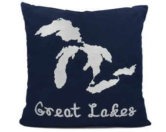 """New Fabric - Great Lake - Nautical Embroidered Pillow Cover - Fits 18""""x18"""" Insert - Navy - Beach / Coastal / Nursery Decor (READY TO SHIP)"""