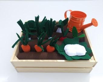 Felt Garden, Garden play set, Montessori Toy, Felt Food, Pretend, Eco-friendly