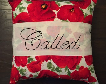 """18x18 """"Called"""" hand embroidered throw pillow"""