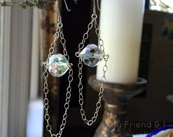 Vintage Crystal Earrings Boho Sterling Silver Chain Dangle LE355