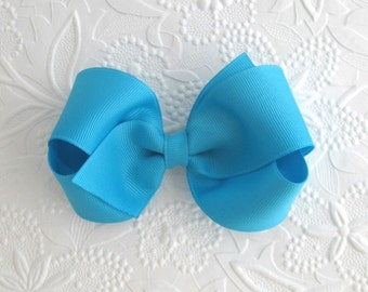 """Turquoise Hair Bow, 4"""" Boutique Bow, Girl ~ Toddler"""