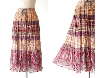 vintage India cotton print maxi skirt / size small medium large