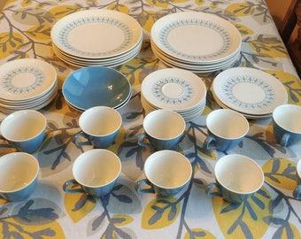 Homer Laughlin Blue Fleur De Lis 1963 Vouge Ironstone dish set.