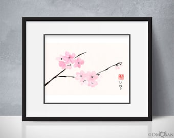 Cherry Blossoms - sumi-e watercolor painting 6x10 (Print)