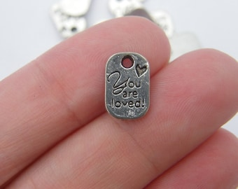 BULK 50 You are loved charms antique silver tone M39
