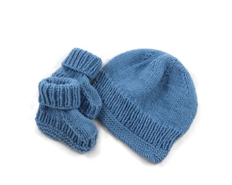 Hand Knitted Blue 3 Month Baby Set