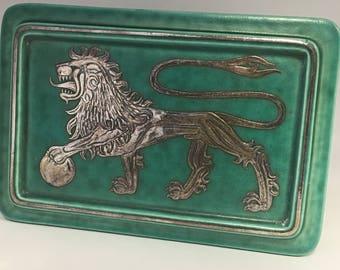 Gustavsberg Art Deco Argenta Trinket Box with Lion, Wilhelm Kage #1230 Wilhelm Kage of Gustavsberg, Argenta Series, Scandinavian Mid Century