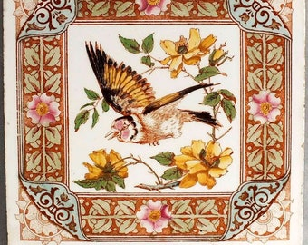 """Large Antique Longwy France Floral and Bird Aesthetic Movement Flying Finch with Yellow Roses Decorative Wall Tile 8 1/4"""" x 8 1/4"""" c.1900"""