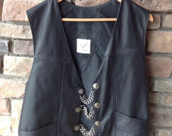 Leather Motorcycle Vest / Buffalo Nickel / S P Leather Vest