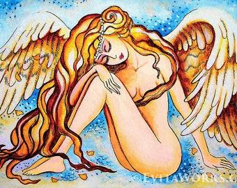 Rain angel, inspirational art, watercolor painting, spiritual painting, divine feminine, healing art, woman wall print 8x12+