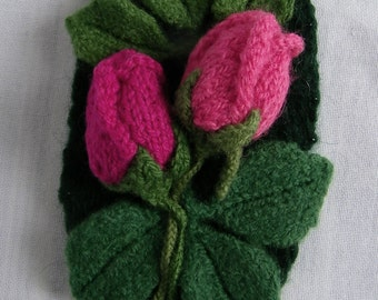 Hand knit, Felt Corsage w/ Pink Rosebud Duo