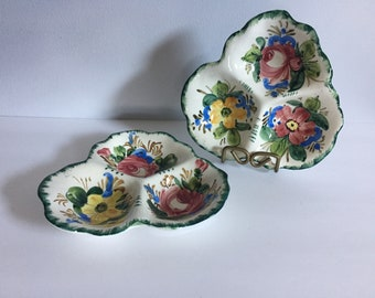 Beautiful Vintage Hand Painted Italian Ceramic Relish / Snack / Serving  Dishes
