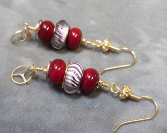 Lampwork Beaded Earrings-Artisan Lampwork Dangle Earrings-Red Queen Earrings-Vintage Watch Earrings-Steampunk Earrings-SRAJD-Artisan Beads