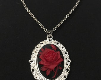 """Red Rose Cameo Gothic/Vintage Silver Necklace/English Rose Necklace Red and Black Cameo 18"""" Silver Chain"""